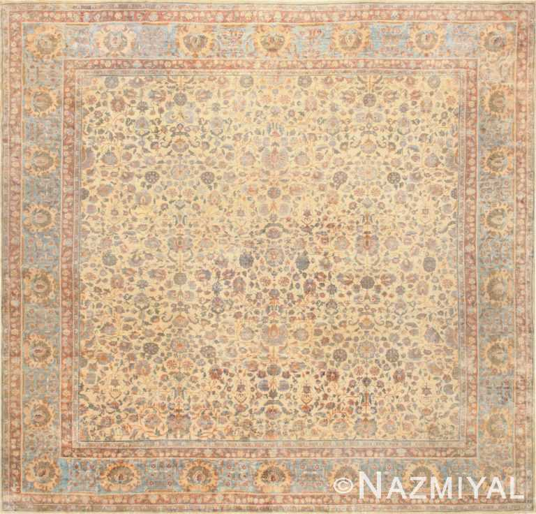 Rare Square Size Persian Antique Tabriz Rug 50359 Nazmiyal