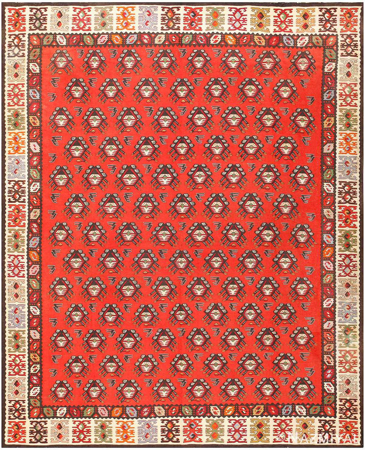 Red Background Tribal Antique Turkish Kilim Rug 50655 Nazmiyal