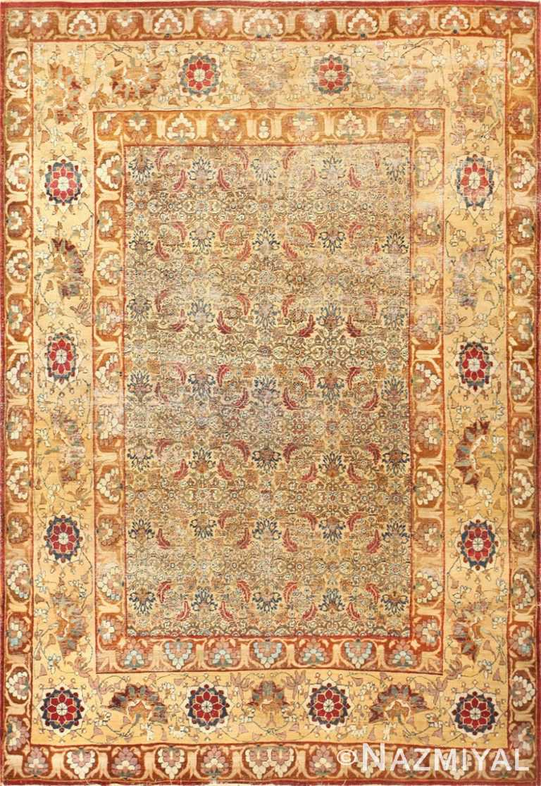 Small Mahi Fish Design Antique Persian Kerman Rug 48799 Nazmiyal