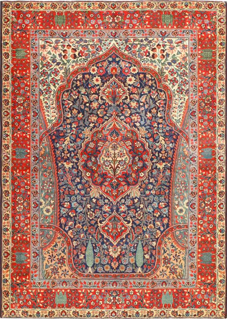 Antique Tree Of Life Design Persian Tabriz Rug 50668 Nazmiyal