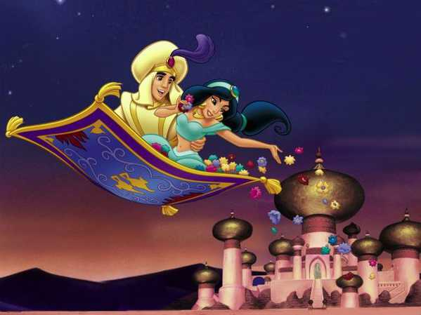 Jasmine and Aladdin On The Magic Flying Carpet by Nazmiyal Antique Rugs