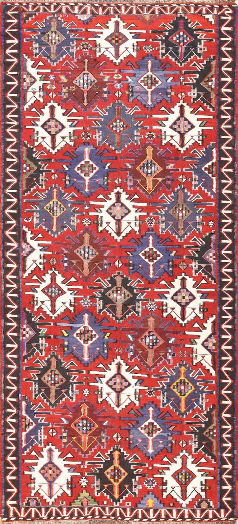 Gallery Size Antique Tribal Turkish Kilim Rug 50679 Nazmiyal