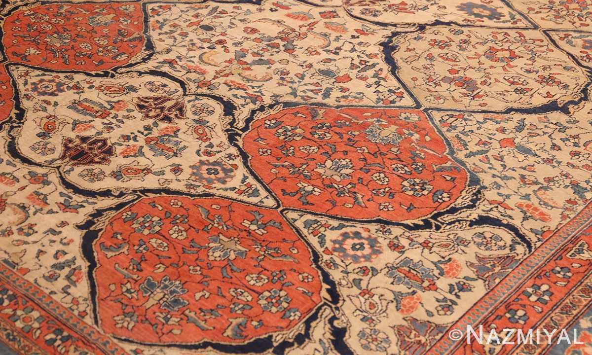 antique persian ivory sarouk farahan oriental rug 40530 red Nazmiyal