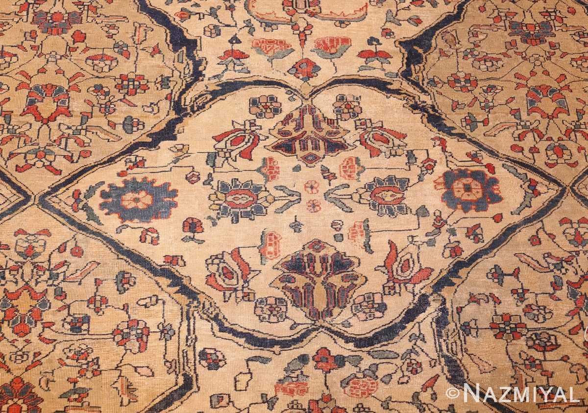 antique persian ivory sarouk farahan oriental rug 40530 white Nazmiyal