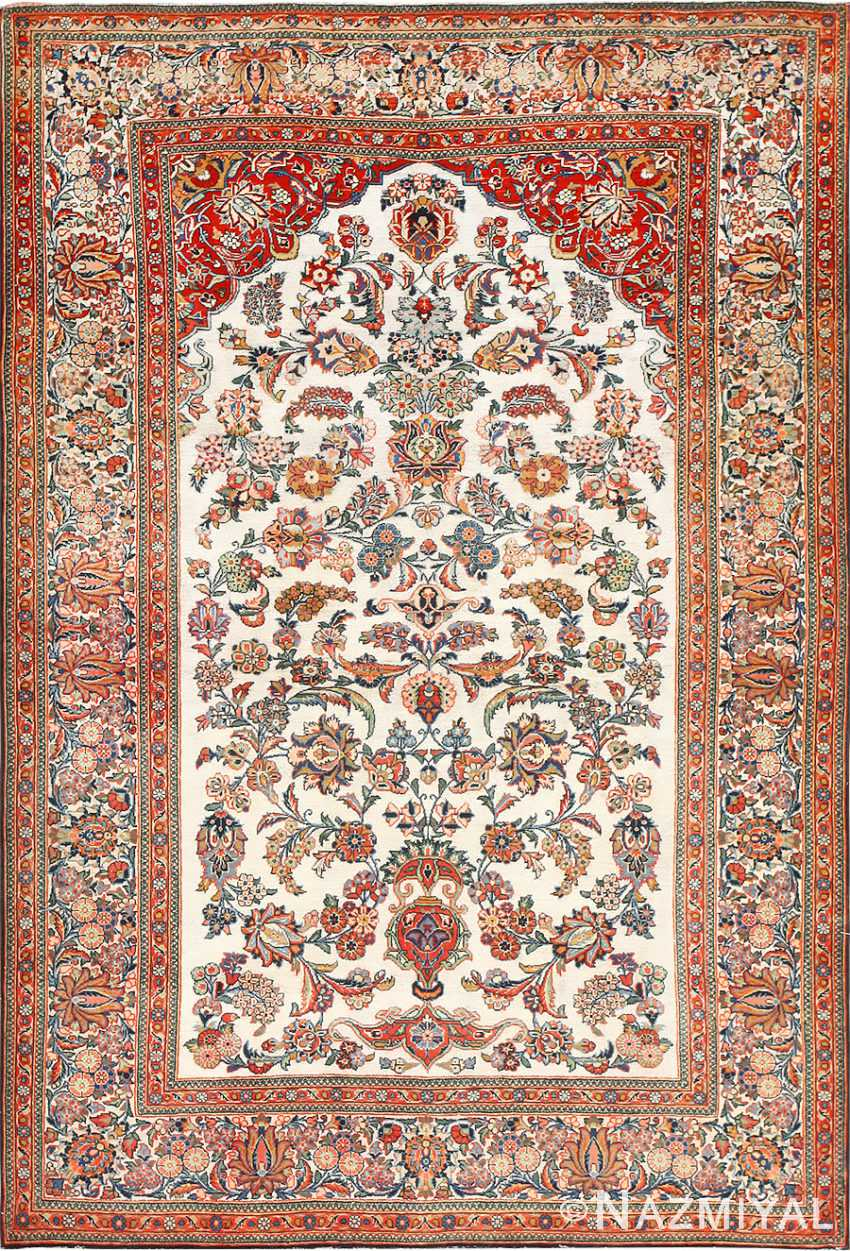 Antique Persian Silk Prayer Design Kashan Oriental Rug 50633 Nazmiyal
