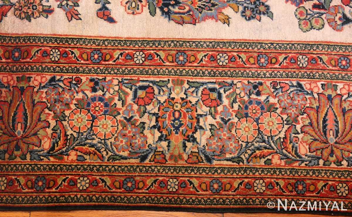 antique persian wool and silk prayer design kashan oriental rug 50633 border Nazmiyal