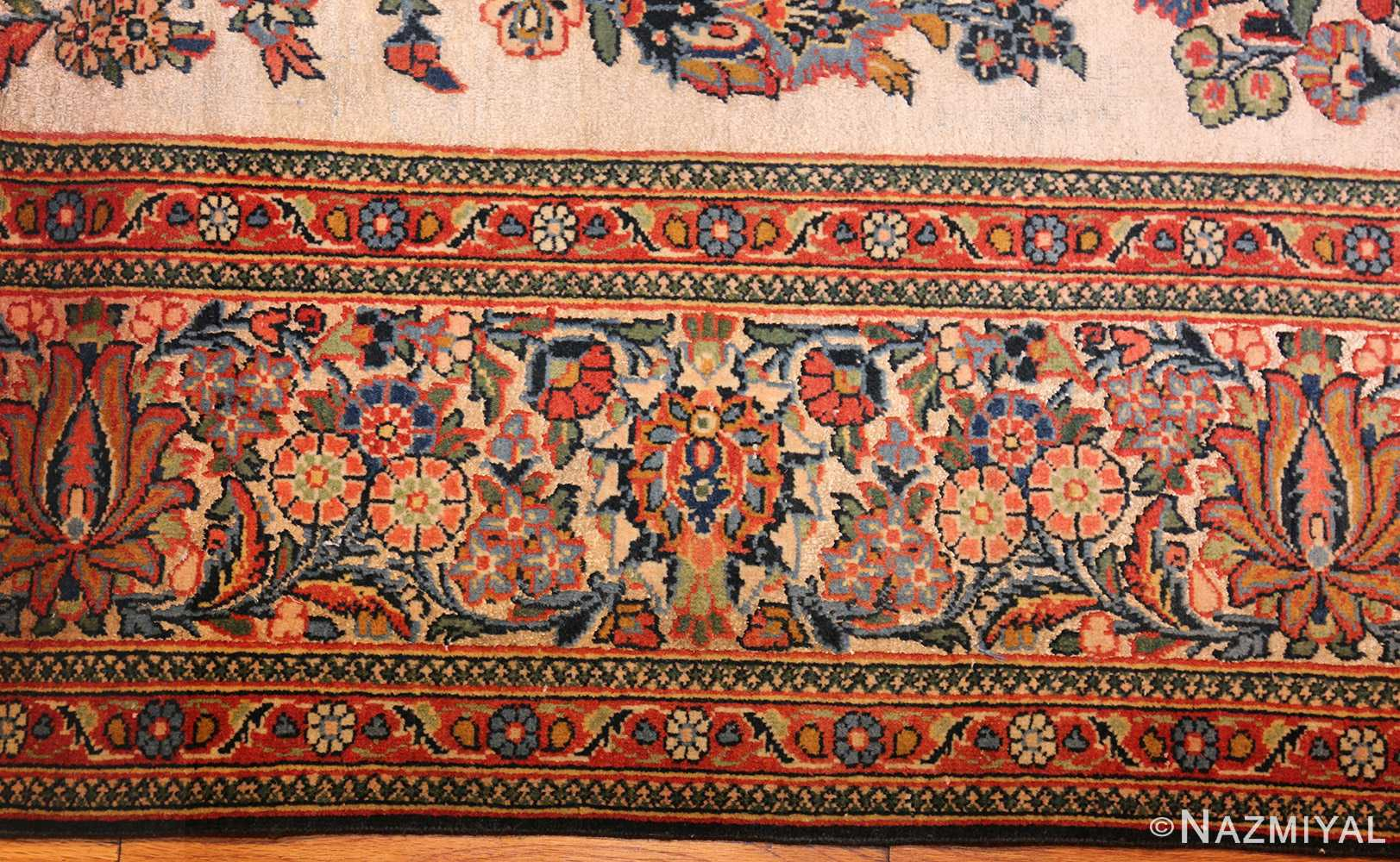 antique persian wool and silk prayer design kashan oriental rug 50633 border Nazmiyal