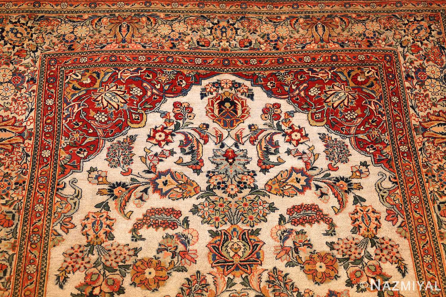 antique persian wool and silk prayer design kashan oriental rug 50633 design Nazmiyal