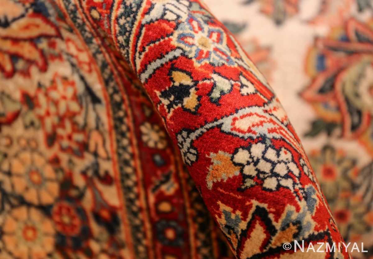 antique persian wool and silk prayer design kashan oriental rug 50633 pile Nazmiyal