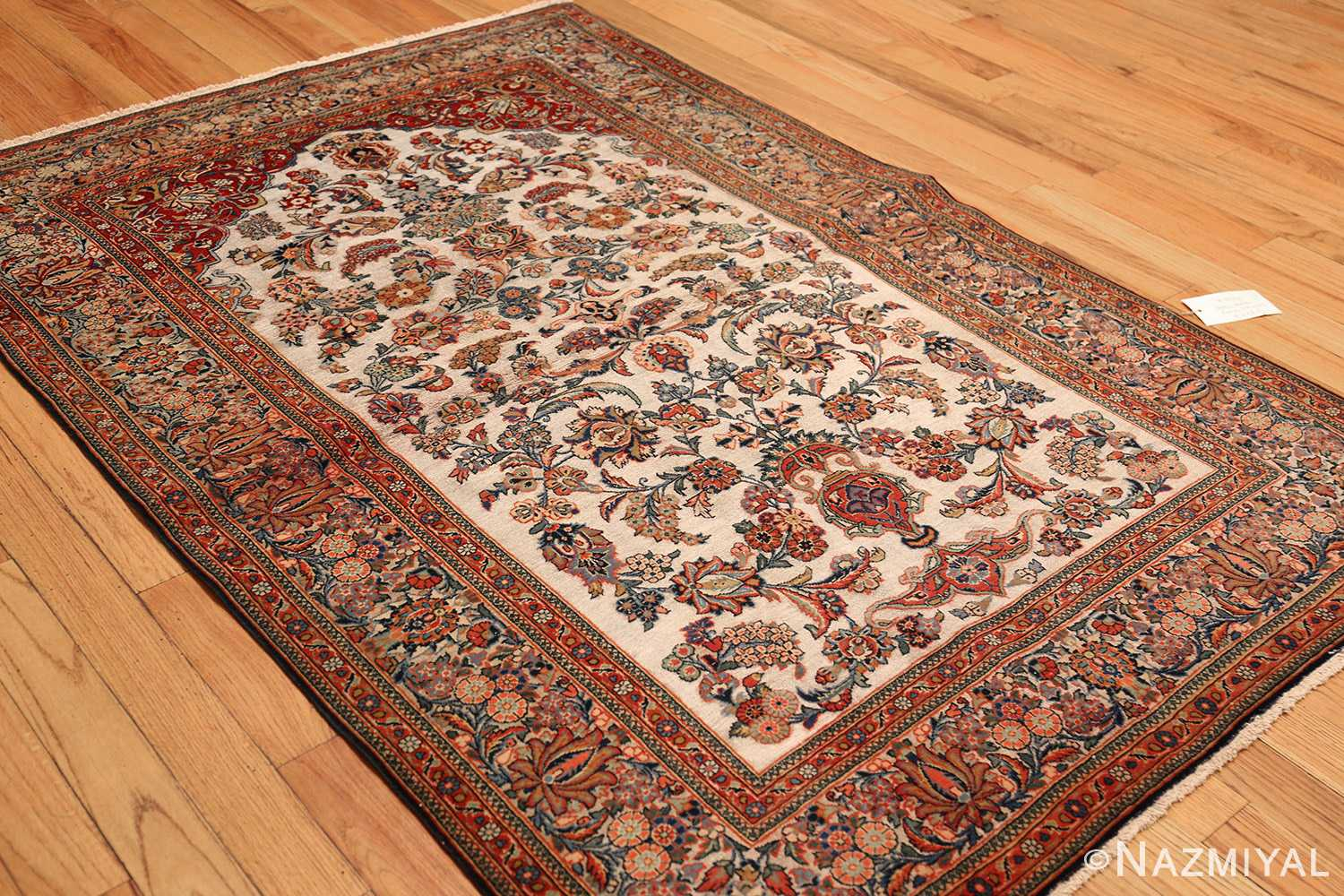 antique persian wool and silk prayer design kashan oriental rug 50633 side Nazmiyal