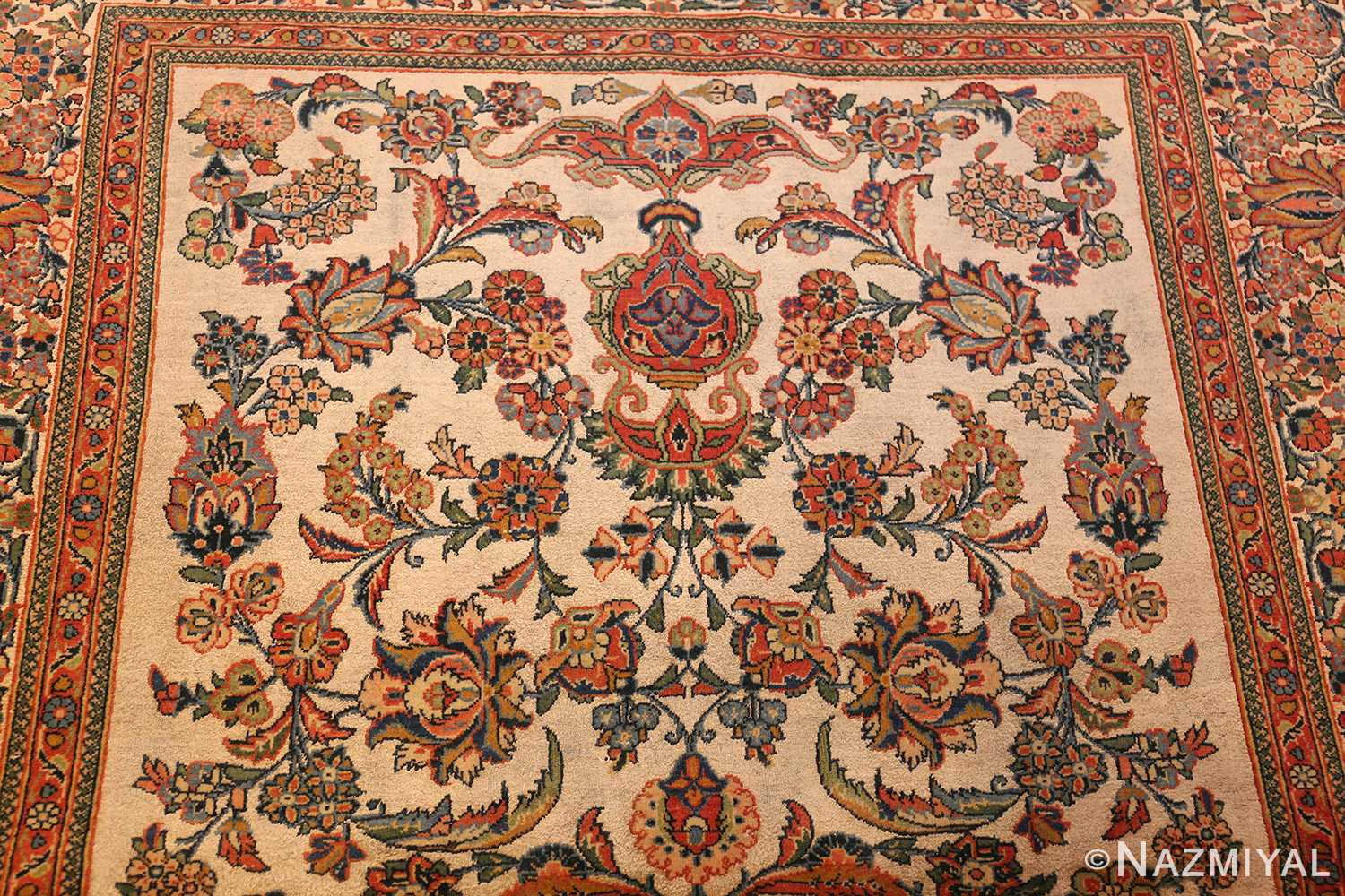 antique persian wool and silk prayer design kashan oriental rug 50633 top Nazmiyal