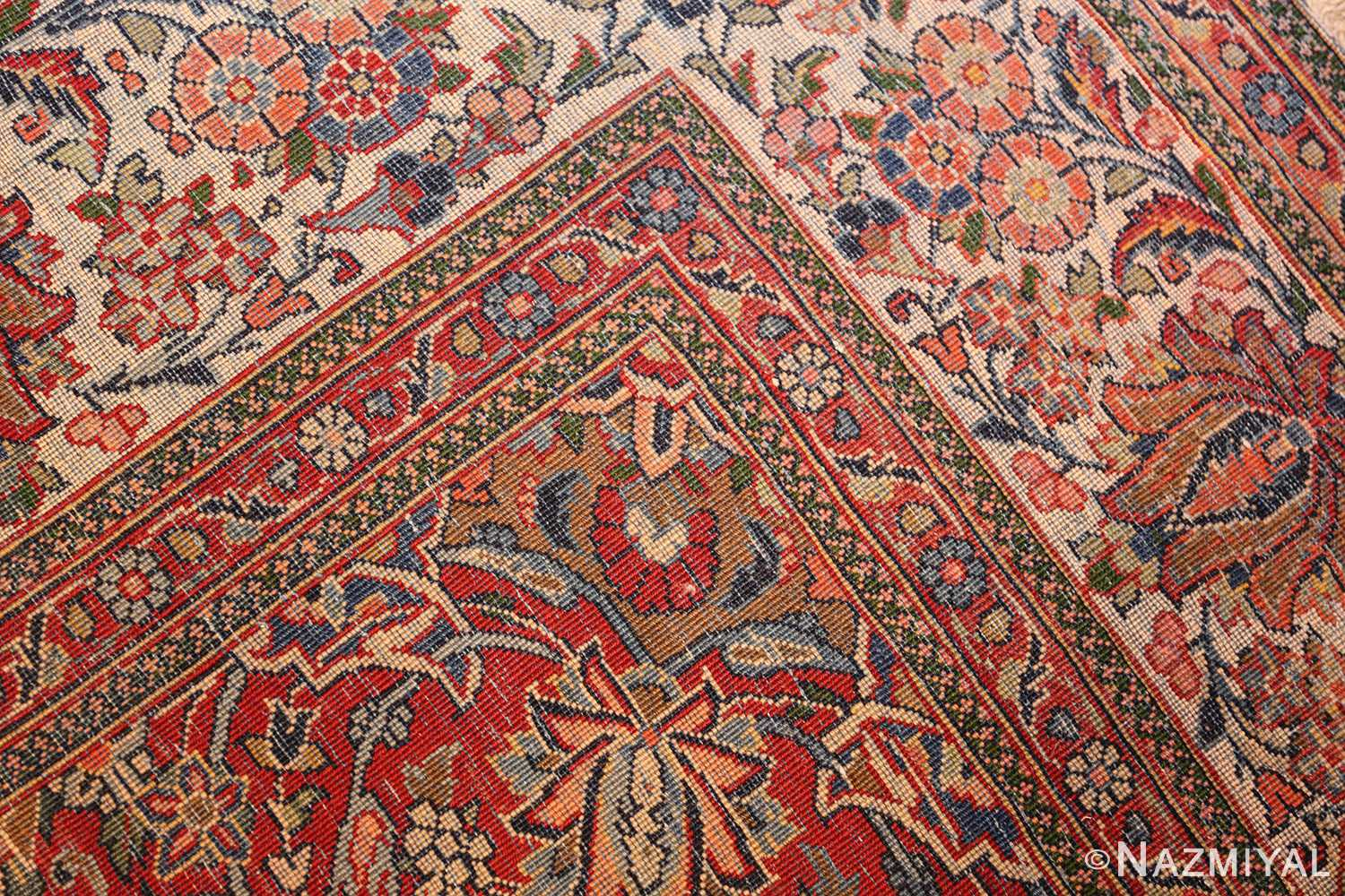antique persian wool and silk prayer design kashan oriental rug 50633 weave Nazmiyal