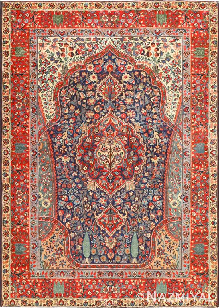 Antique Tree Of Life Design Persian Tabriz Rug 50668 Nazmiyal