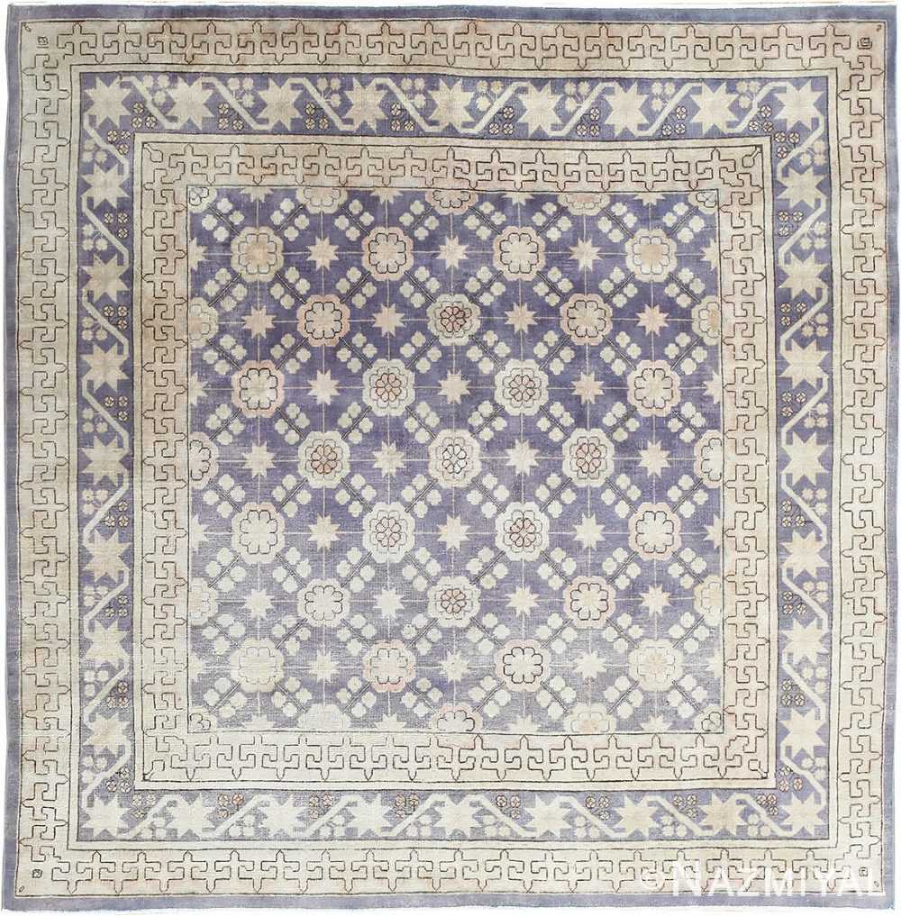 Beautiful Square Purple Antique Khotan Rug 48783 Nazmiyal