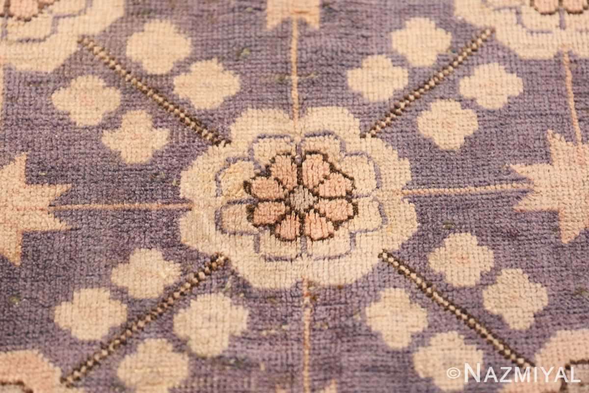 Beautiful Square Purple Antique Khotan Rug 48783 Middle Flower Nazmiyal