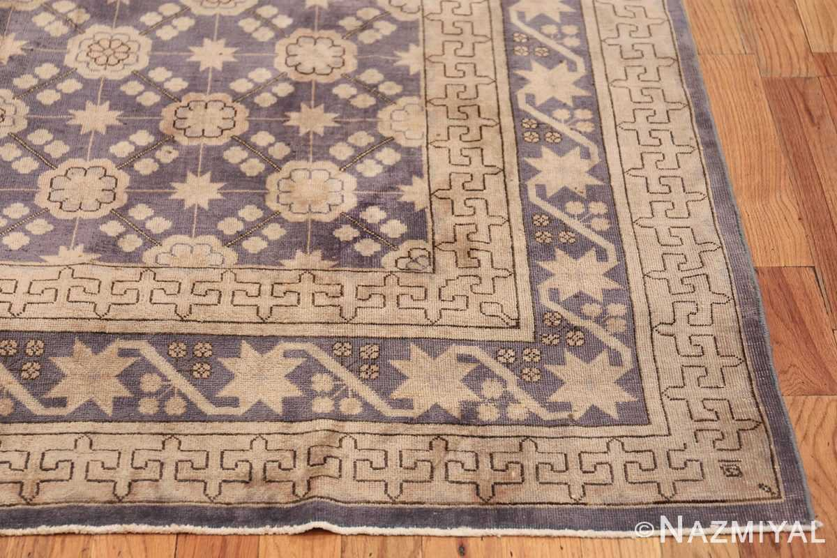 Beautiful Square Purple Antique Khotan Rug 48783 Side Corner Nazmiyal
