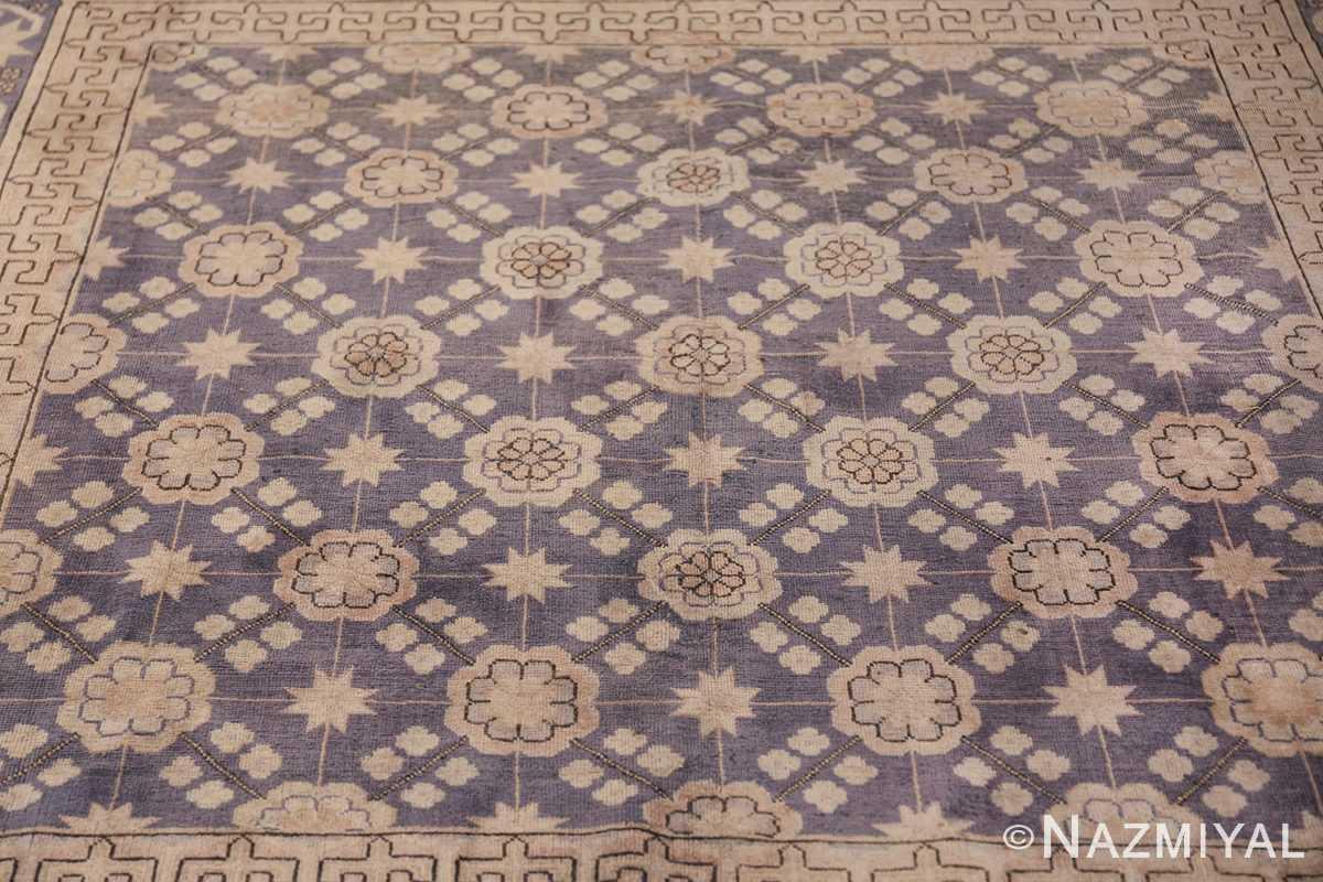 Beautiful Square Purple Antique Khotan Rug 48783 Wide Shot Field Nazmiyal