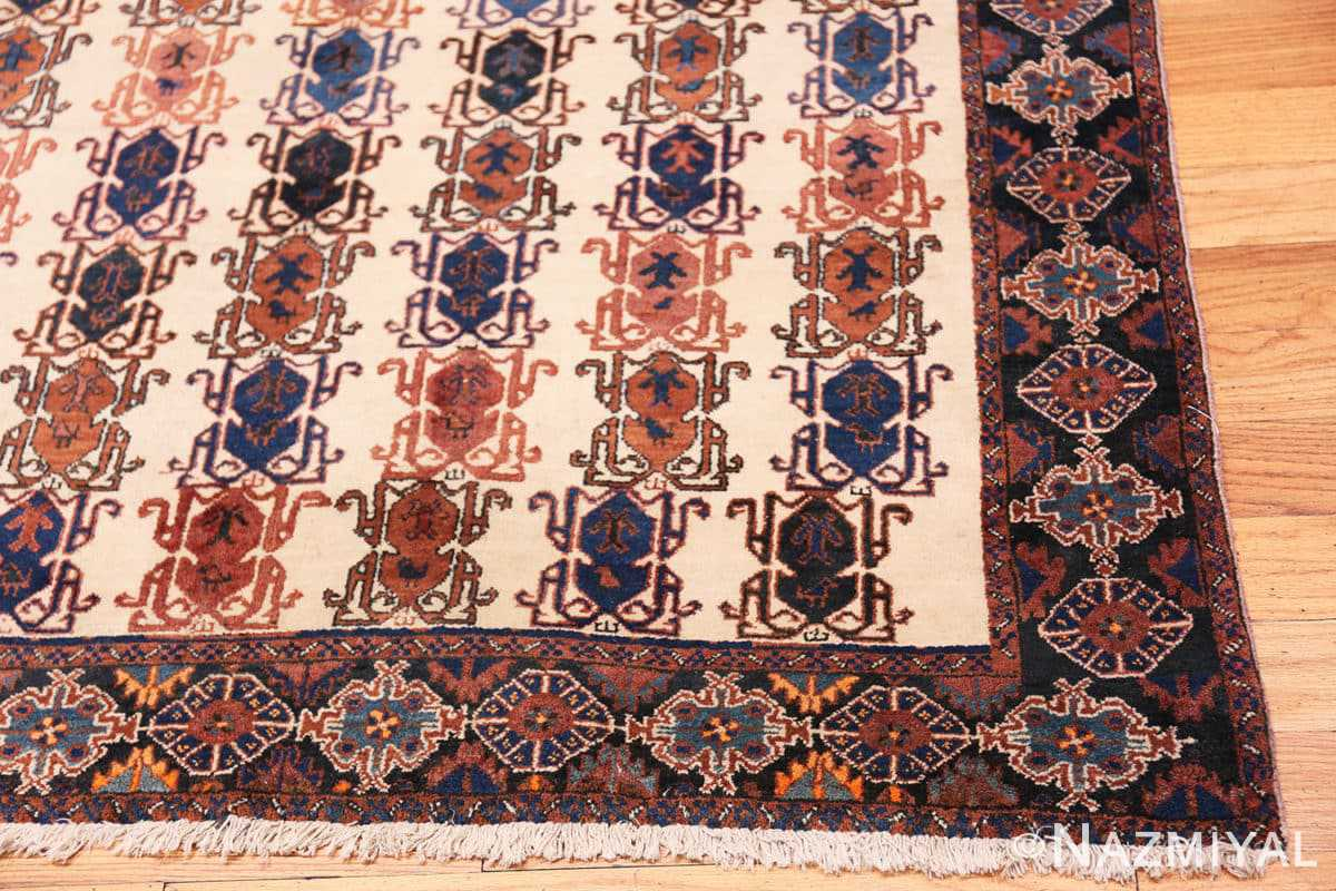 Corner Ivory Vintage Tribal Persian Afshar rug 50687 by Nazmiyal