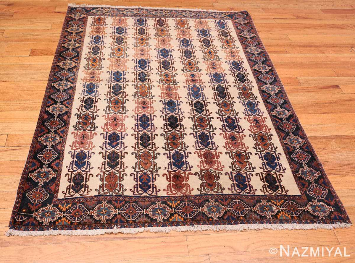 Full Ivory Vintage Tribal Persian Afshar rug 50687 by Nazmiyal