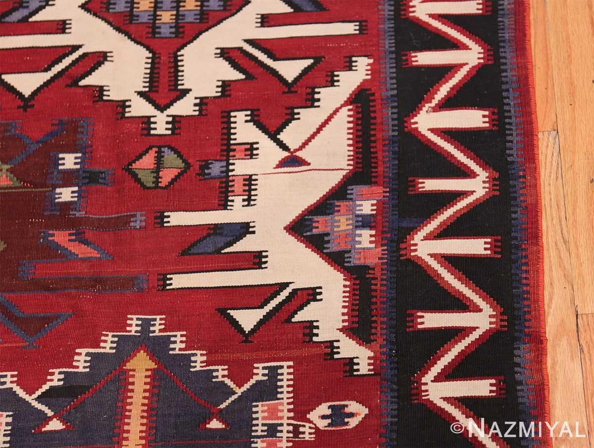 Gallery Size Antique Tribal Turkish Kilim Rug 50679 Black Border Nazmiyal