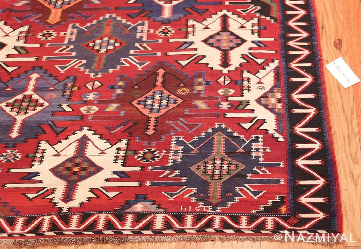 Gallery Size Antique Tribal Turkish Kilim Rug 50679 Corner Nazmiyal