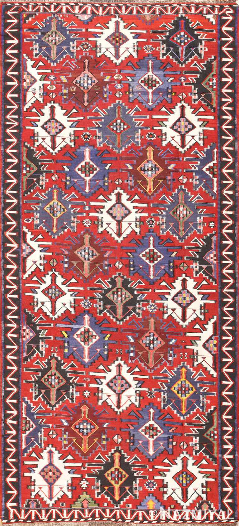 Gallery Size Antique Tribal Turkish Kilim Rug 50679 Nazmiyal