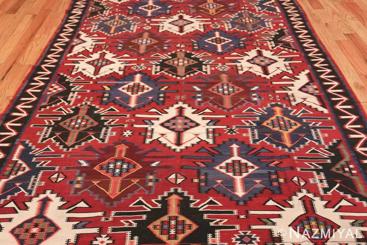 Gallery Size Antique Tribal Turkish Kilim Rug 50679 Field Detial Nazmiyal