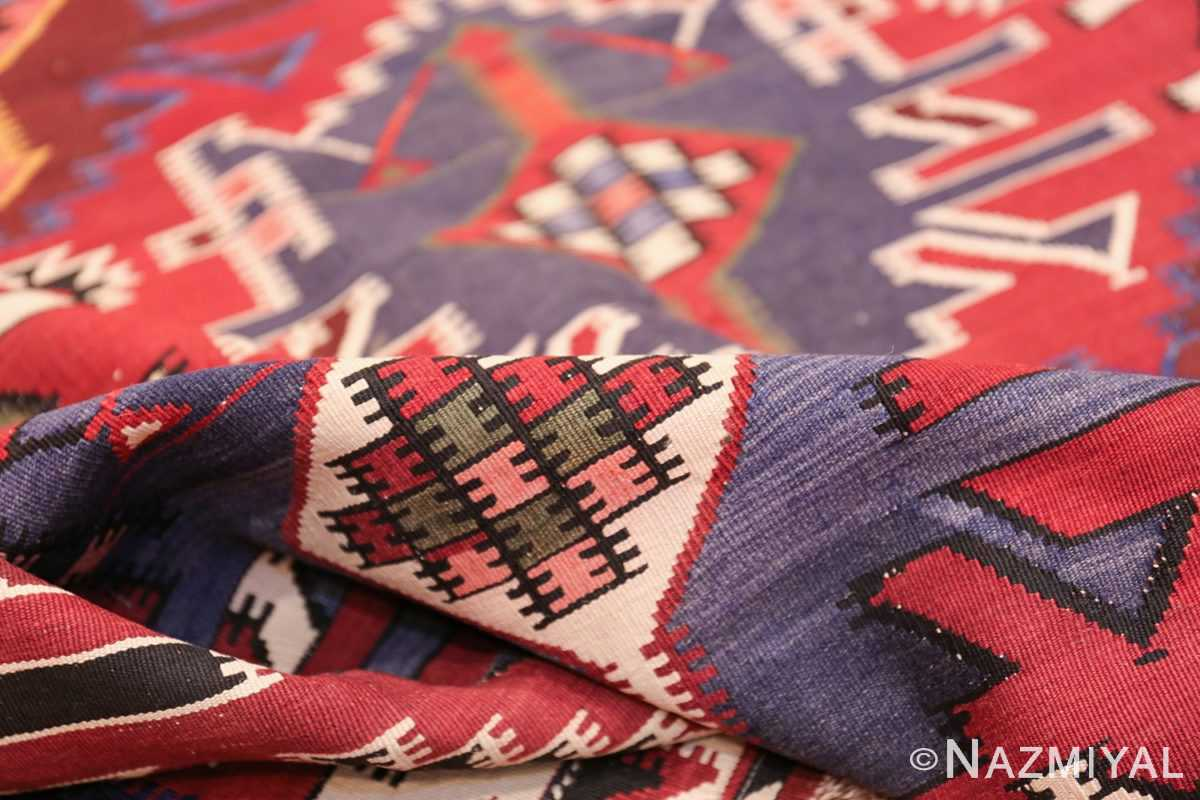 Gallery Size Antique Tribal Turkish Kilim Rug 50679 Geometric Pile Nazmiyal