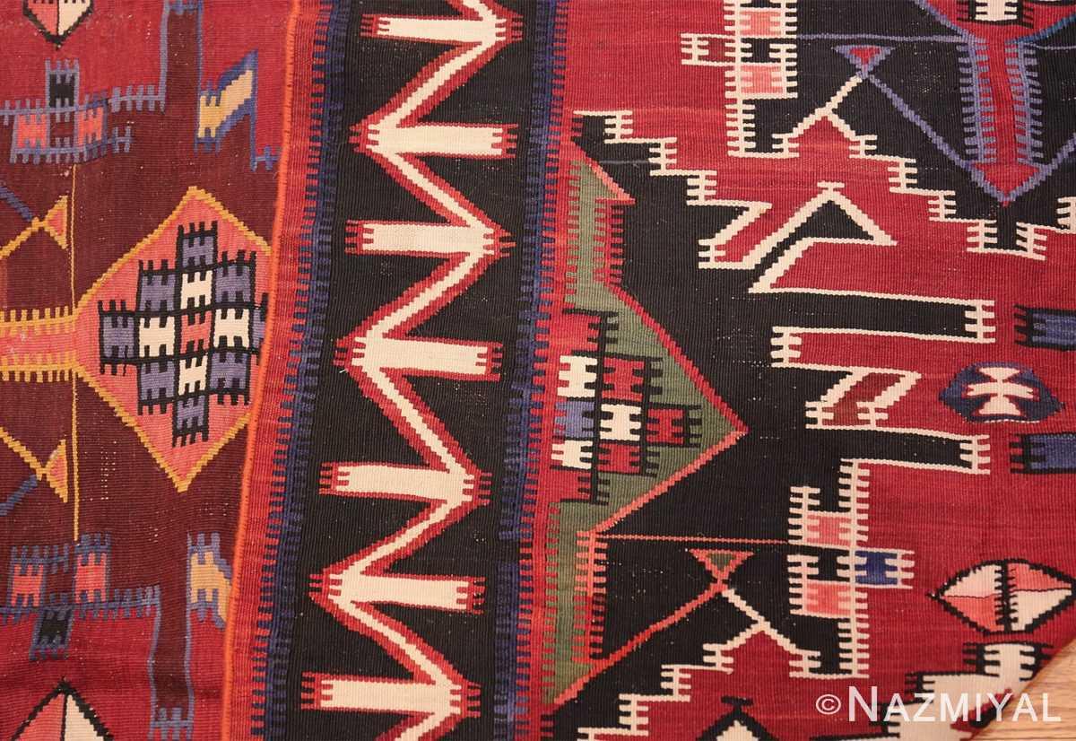 Gallery Size Antique Tribal Turkish Kilim Rug 50679 Knots Back Nazmiyal