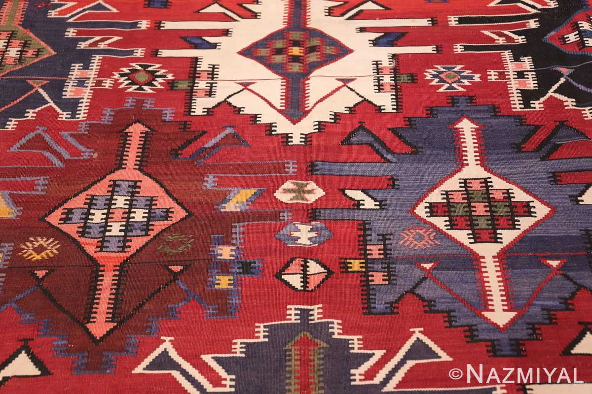 Gallery Size Antique Tribal Turkish Kilim Rug 50679 Trio Tiny Shapes Nazmiyal