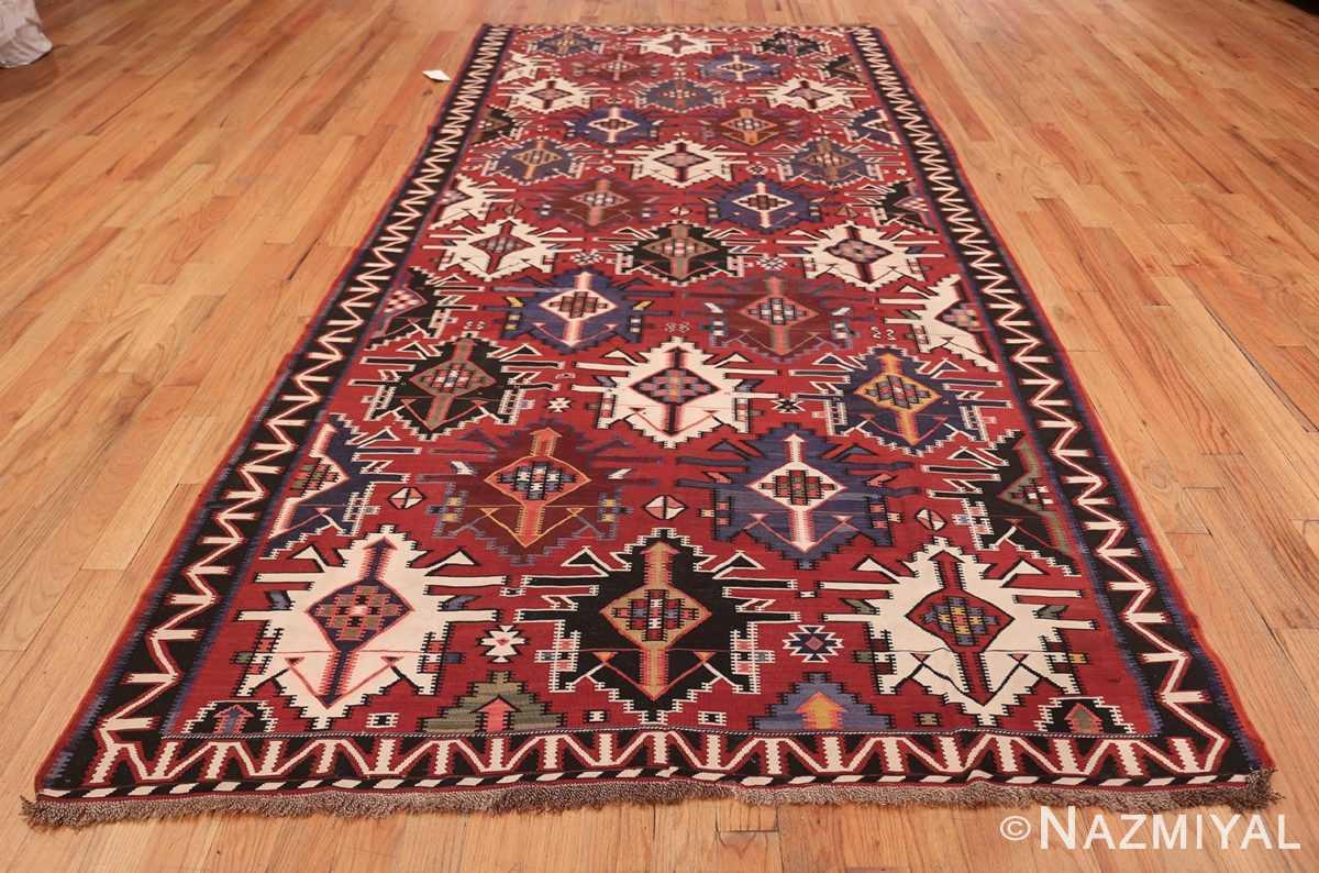 Gallery Size Antique Tribal Turkish Kilim Rug 50679 Whole Design Nazmiyal