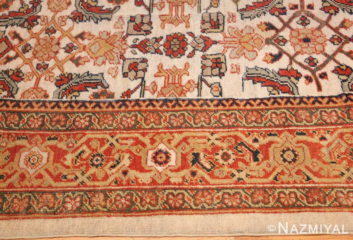 ivory antique sultanabad persian rug 50659 border Nazmiyal