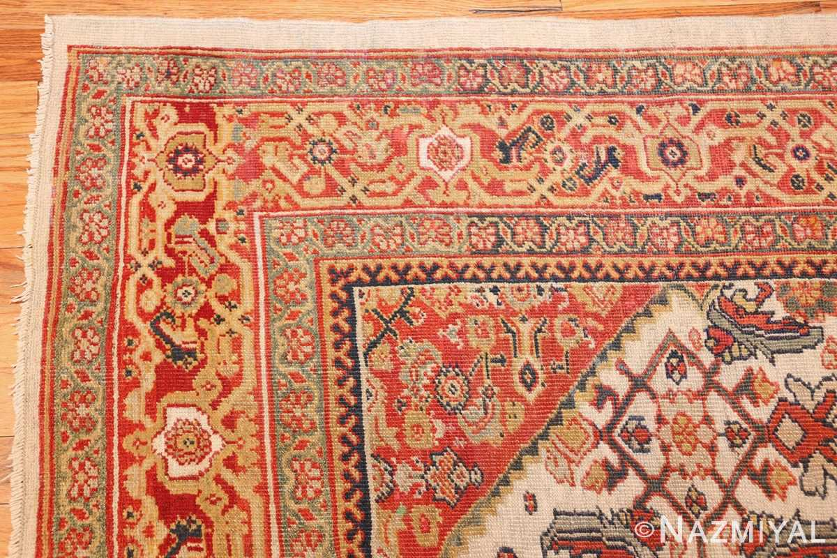 ivory antique sultanabad persian rug 50659 corner Nazmiyal