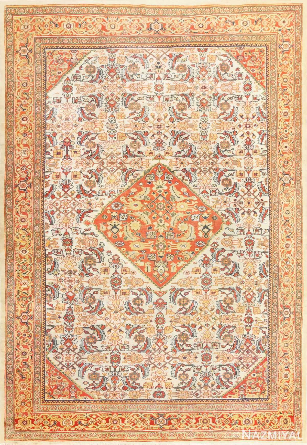 Ivory Antique Sultanabad Persian Rug 50659 Nazmiyal