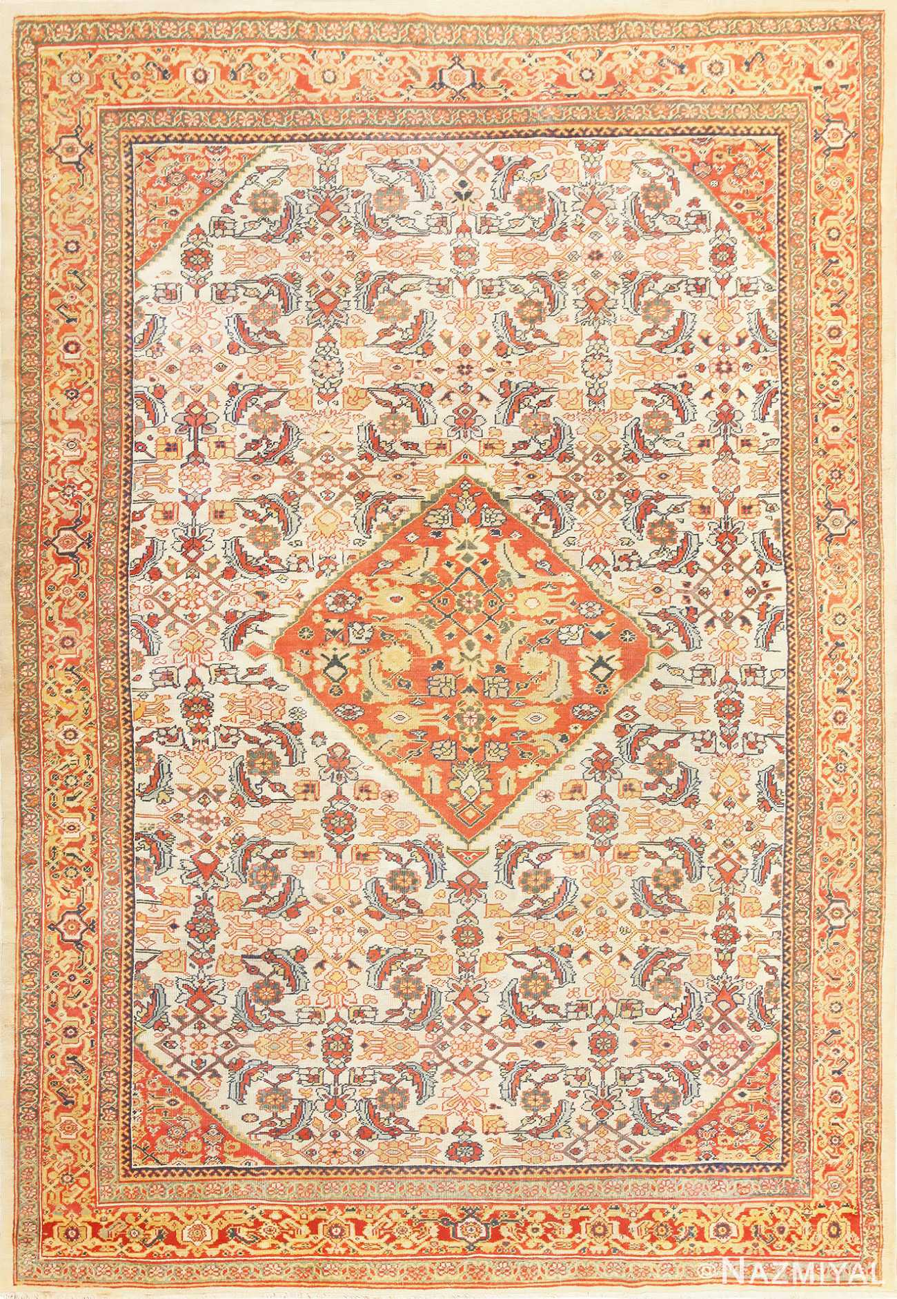Ivory Antique Sultanabad Persian Rug 50659 Nazmiyal