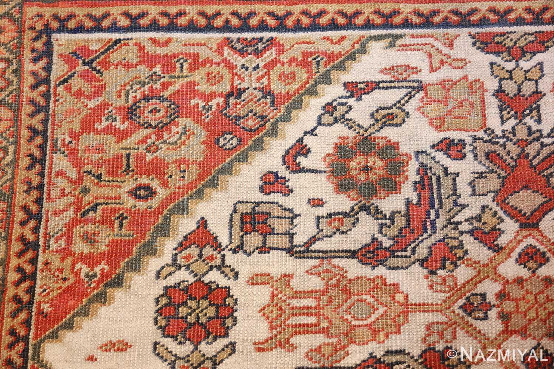 ivory antique sultanabad persian rug 50659 side Nazmiyal
