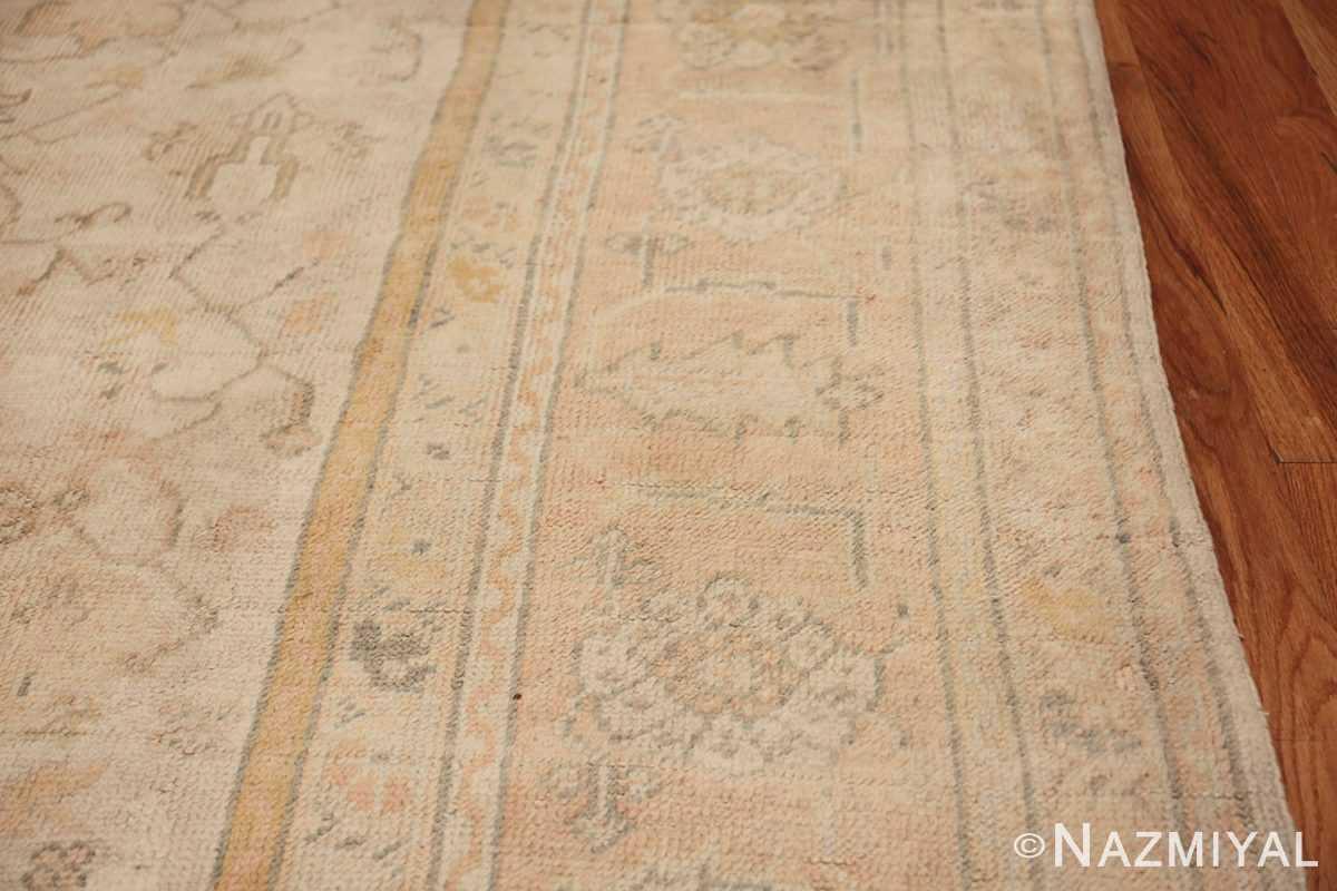 Large Decorative Antique Ivory Turkish Oushak Rug 50675 Border Design Nazmiyal