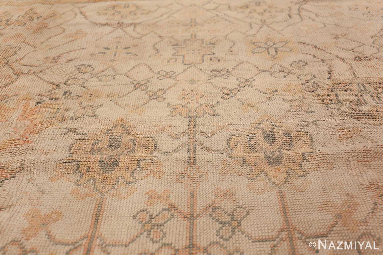 Large Decorative Antique Ivory Turkish Oushak Rug 50675 Central Top Nazmiyal