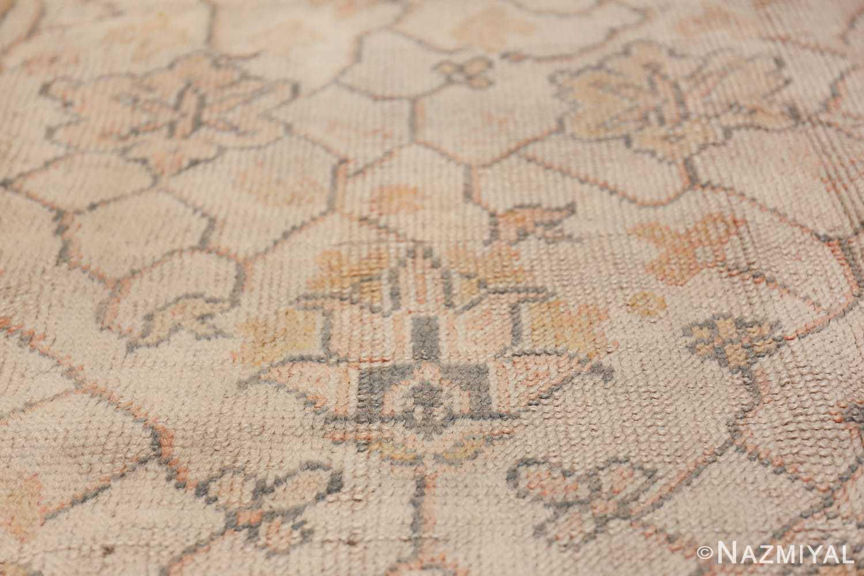 Large Decorative Antique Ivory Turkish Oushak Rug 50675 Closeup Nazmiyal