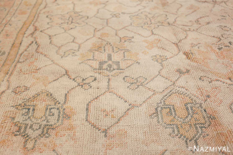Large Decorative Antique Ivory Turkish Oushak Rug 50675 Decoration on Side Nazmiyal