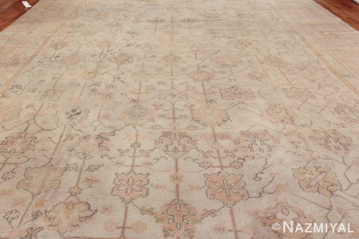 Large Decorative Antique Ivory Turkish Oushak Rug 50675 Field Wide Shot Nazmiyal