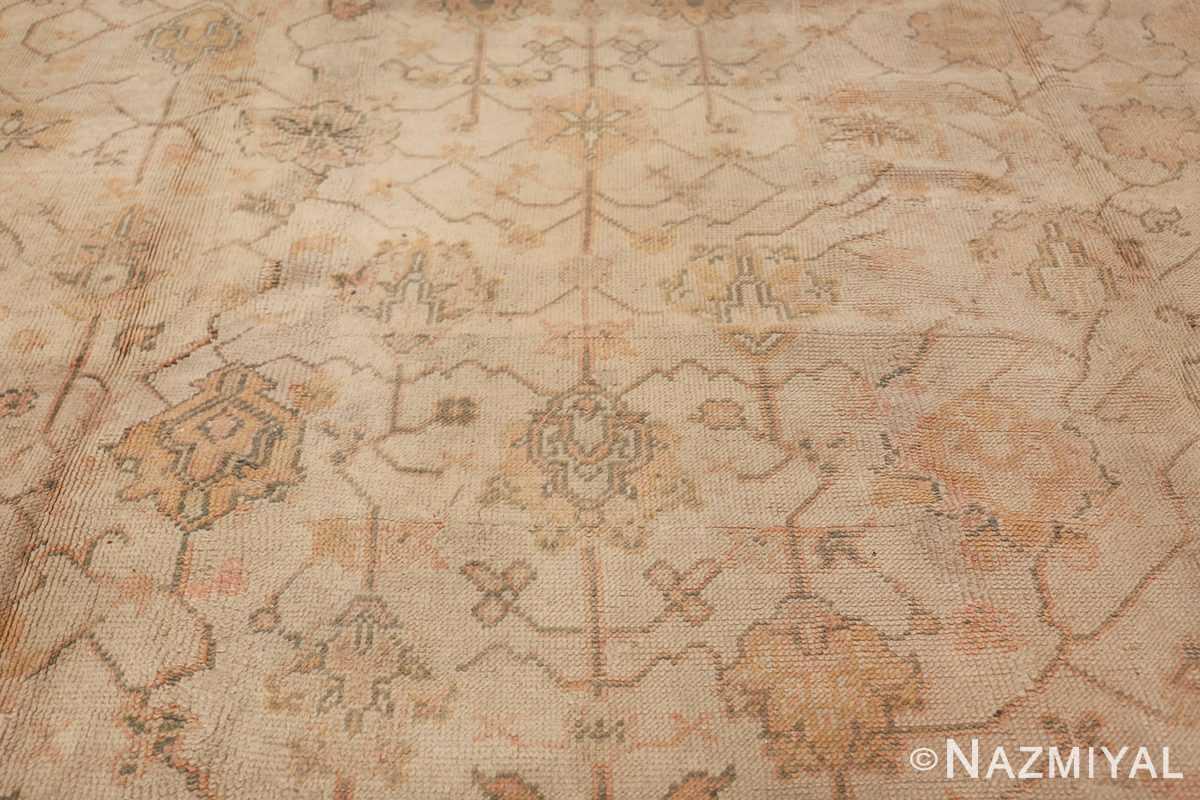 Large Decorative Antique Ivory Turkish Oushak Rug 50675 Middle Part Nazmiyal