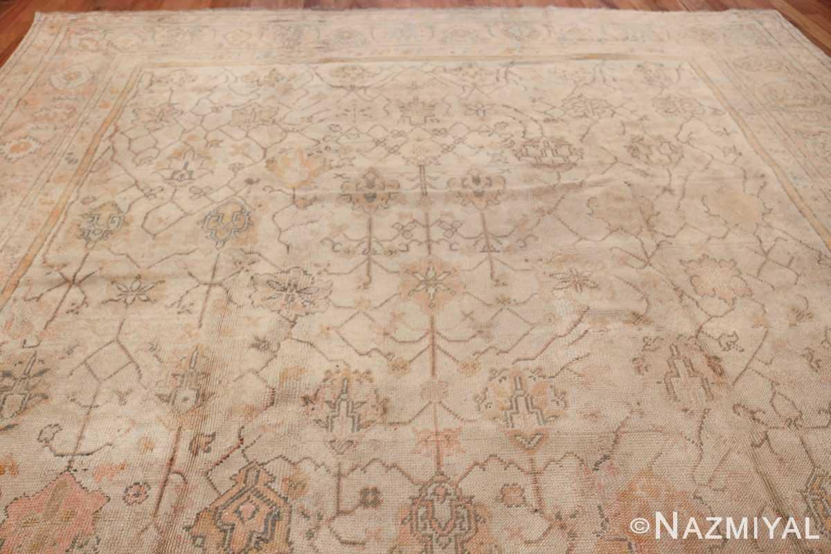 Large Decorative Antique Ivory Turkish Oushak Rug 50675 Top Design Nazmiyal