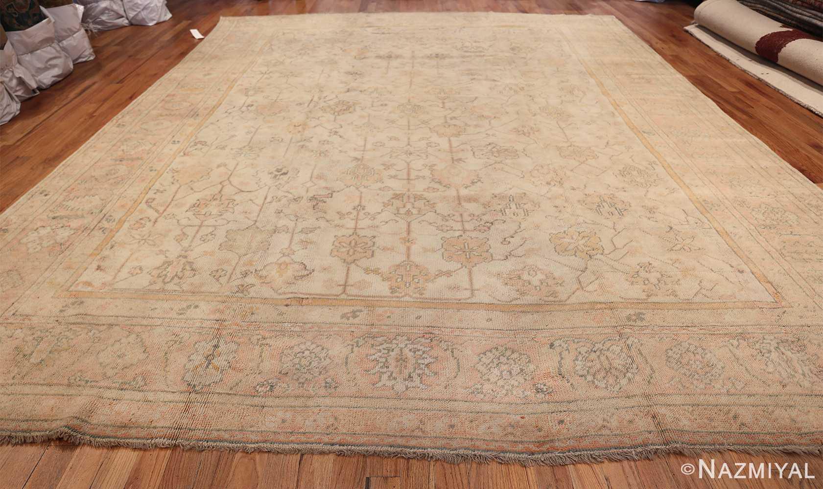 Large Decorative Antique Ivory Turkish Oushak Rug 50675 Whole Design Nazmiyal