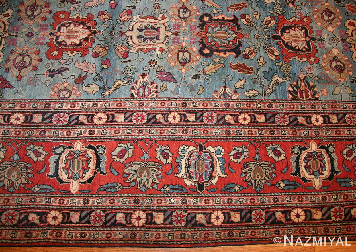 light blue antique persian tabriz oriental rug 48820 border Nazmiyal