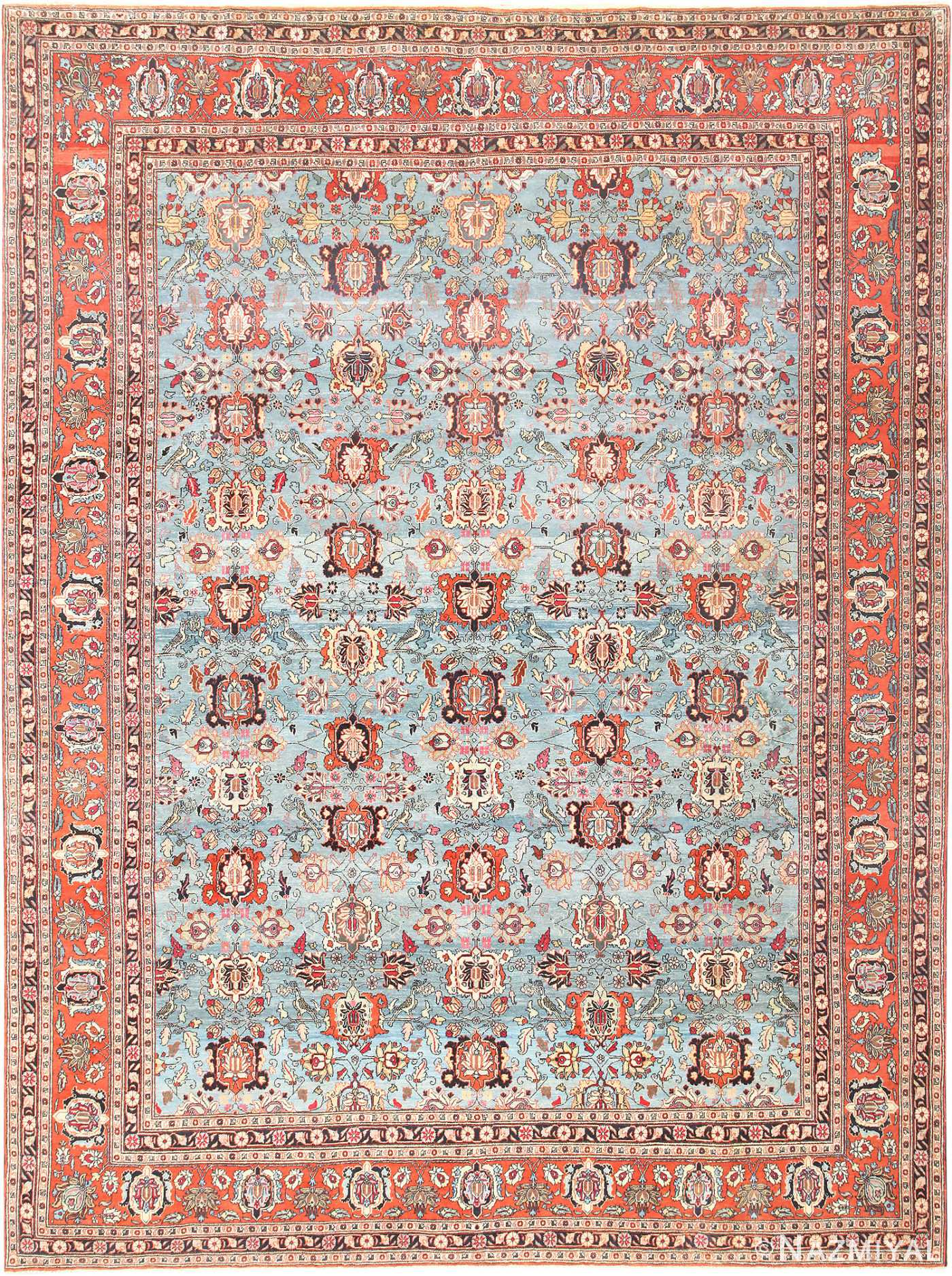 Light Blue Antique Persian Tabriz Oriental Rug 48820 Nazmiyal