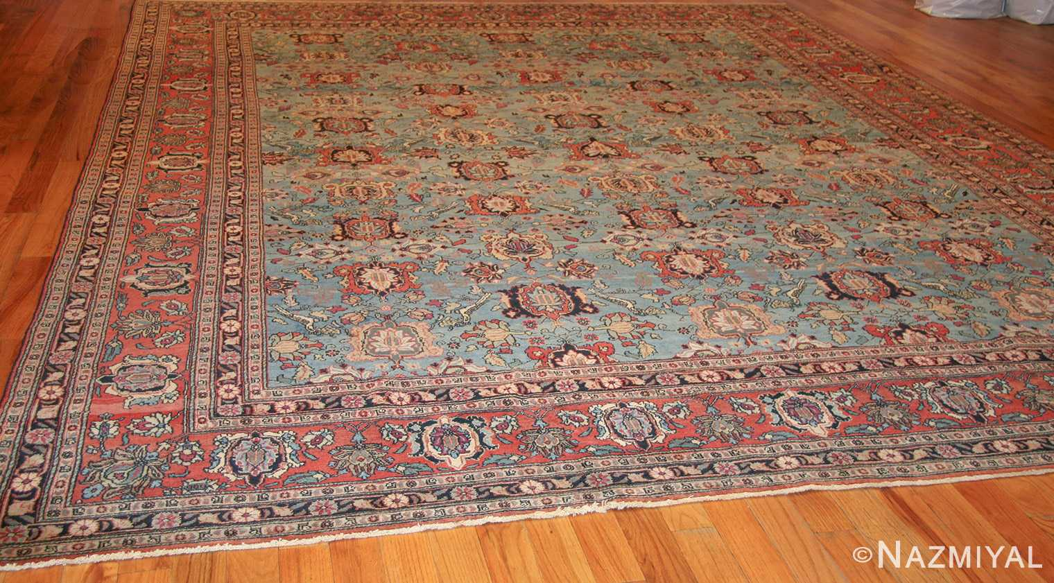 light blue antique persian tabriz oriental rug 48820 whole Nazmiyal