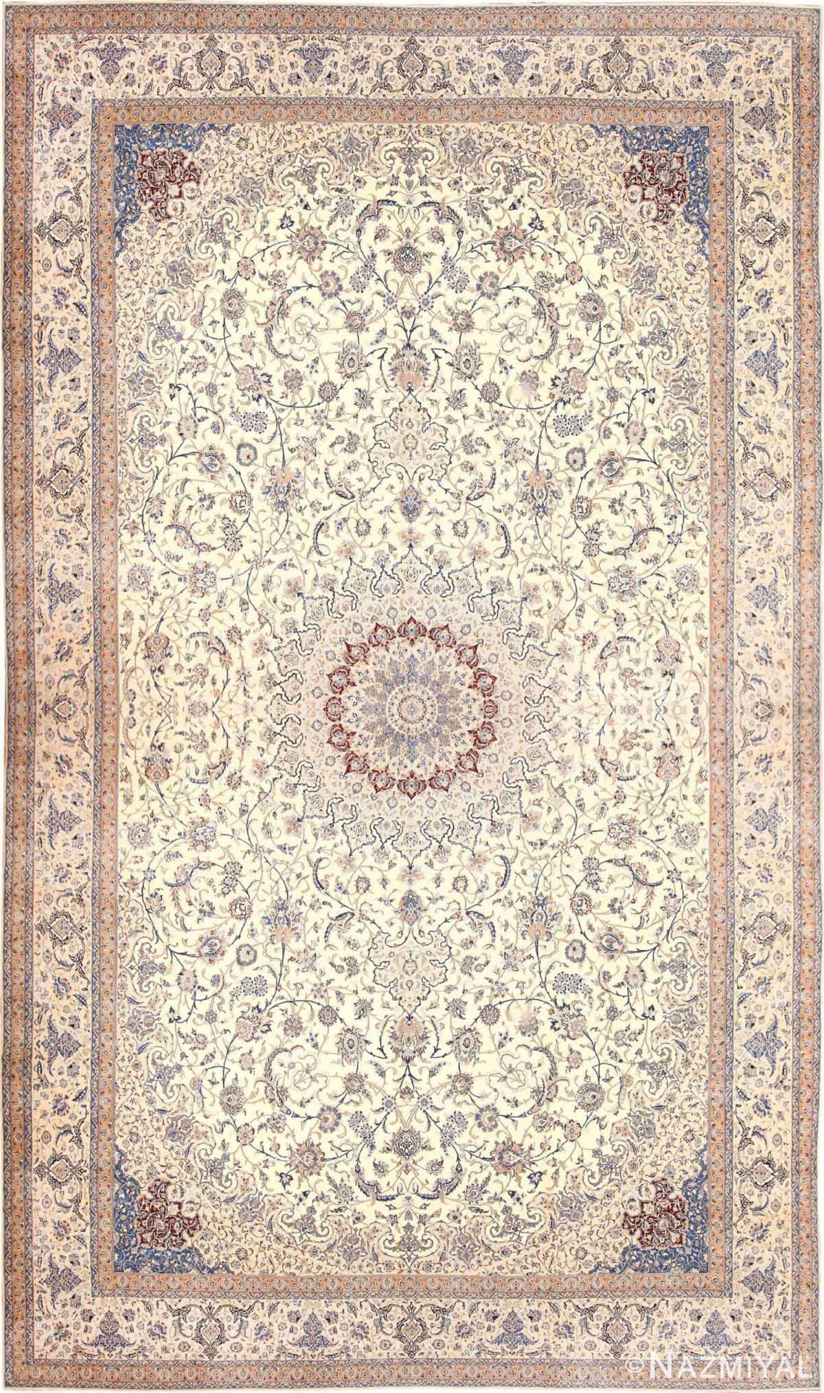 Palace Size Fine Silk And Wool Persian Nain Carpet 50689 Nazmiyal