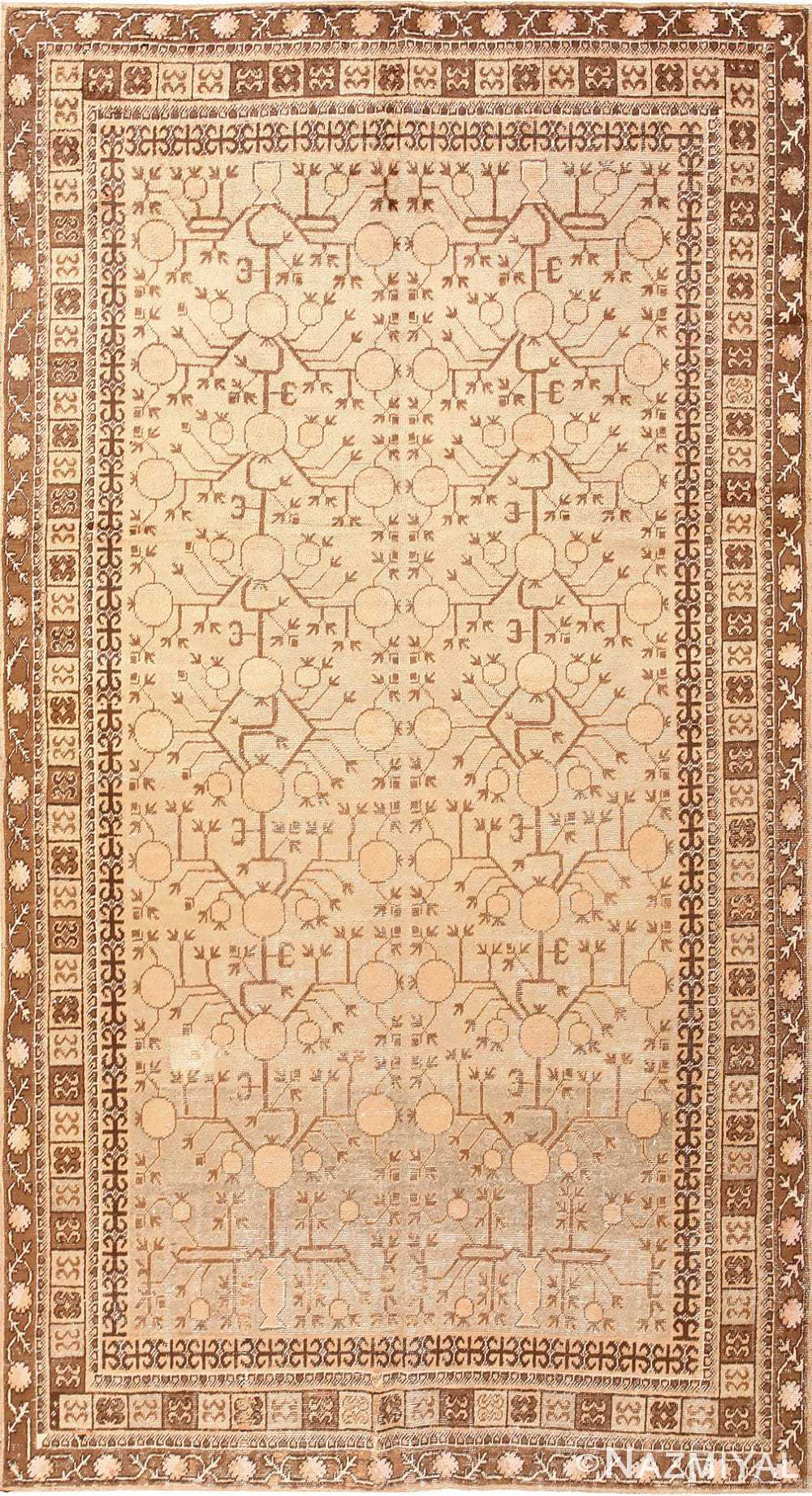 Pomegranate Design Antique Khotan Rug 50673 Nazmiyal