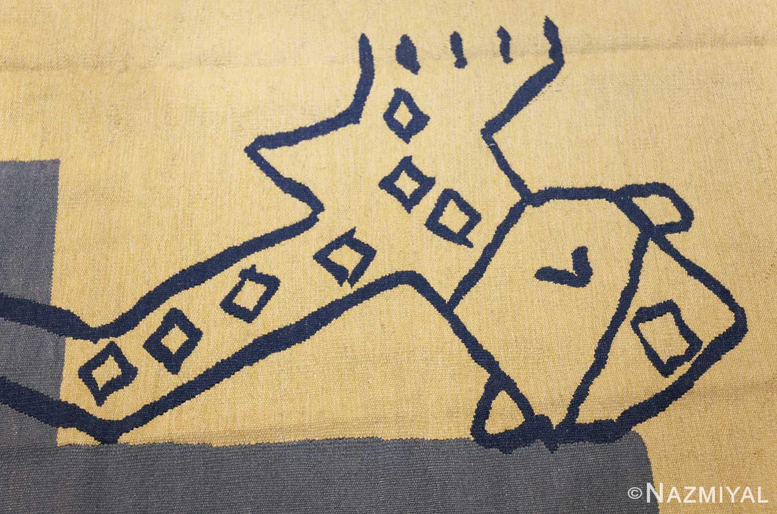 square vintage art deco french tapestry 48832 giraffe Nazmiyal
